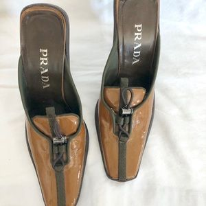 Prada Shoes - PRADA Tan High Heeled Mules